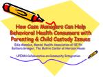 how case managers can help behavioral health consumers with parenting child custody issues
