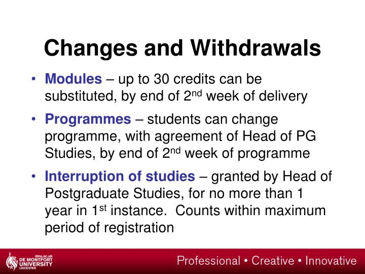 Changes and Withdrawals