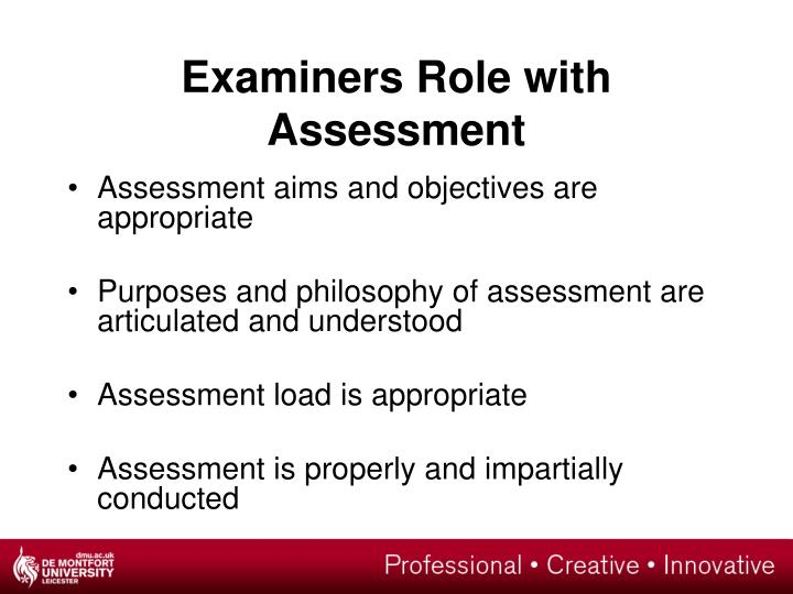 Examiners Role with