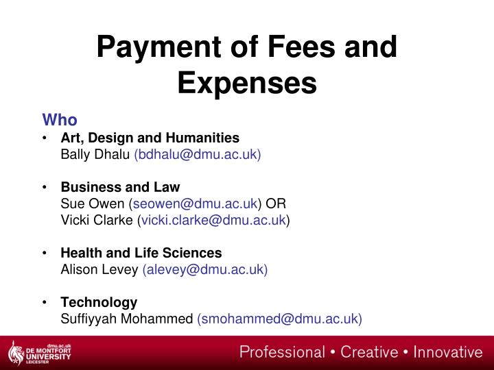 Payment of Fees and Expenses