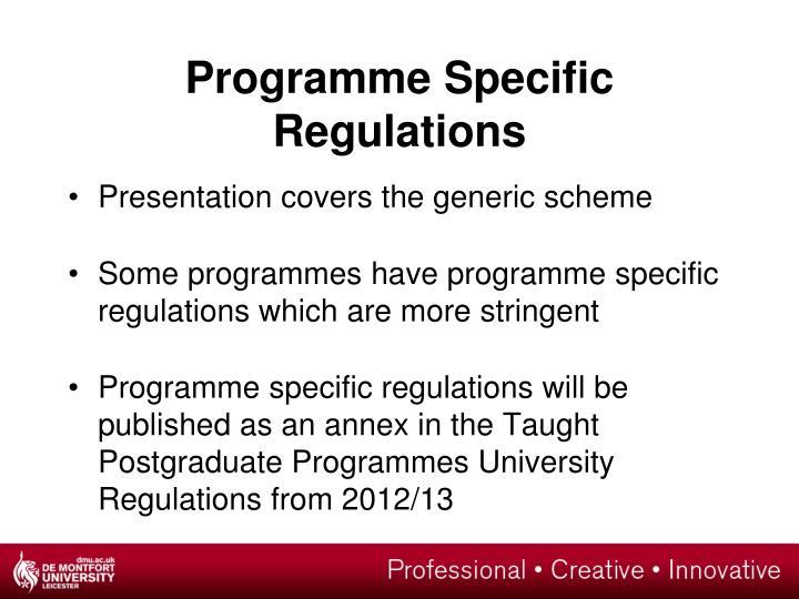 Programme Specific Regulations