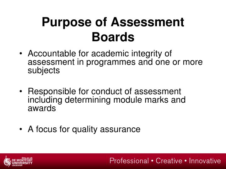Purpose of Assessment Boards