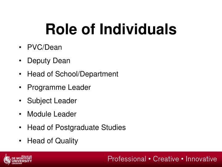 Role of Individuals