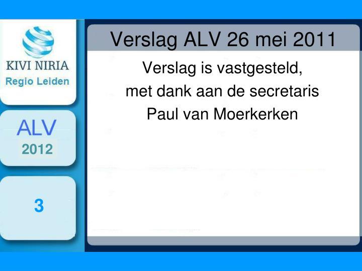 Verslag ALV 26 mei 2011