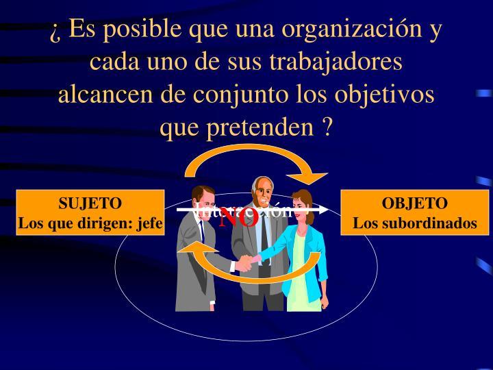 ¿ Es posible que una organización y cada uno de sus trabajadores alcancen de conjunto los objetivo...