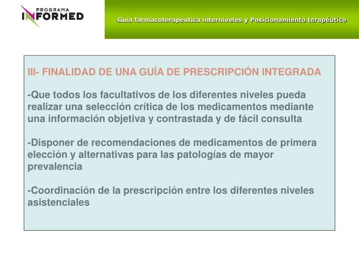 Guia farmacoterapéutica interniveles y Posicionamiento terapéutico