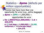 statistics dpmo defects per million opportunities