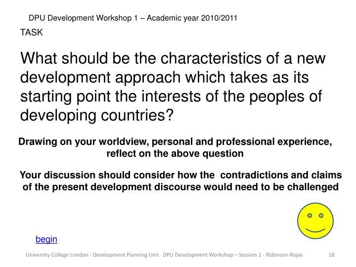 DPU Development Workshop 1 – Academic year 2010/2011