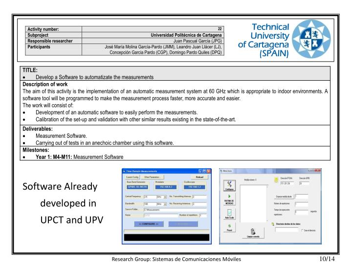 Software Already developed in UPCT and UPV