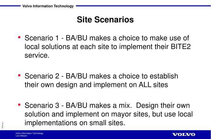 site scenarios n.