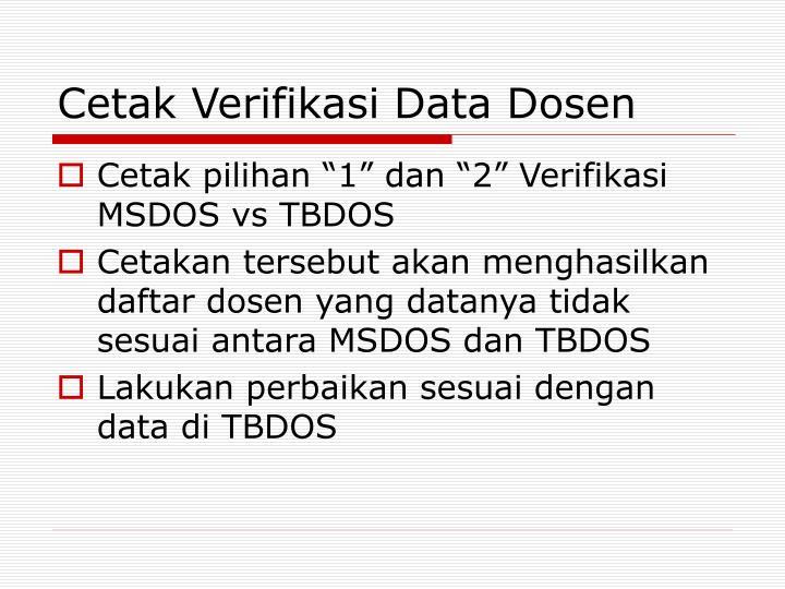 Cetak Verifikasi Data Dosen