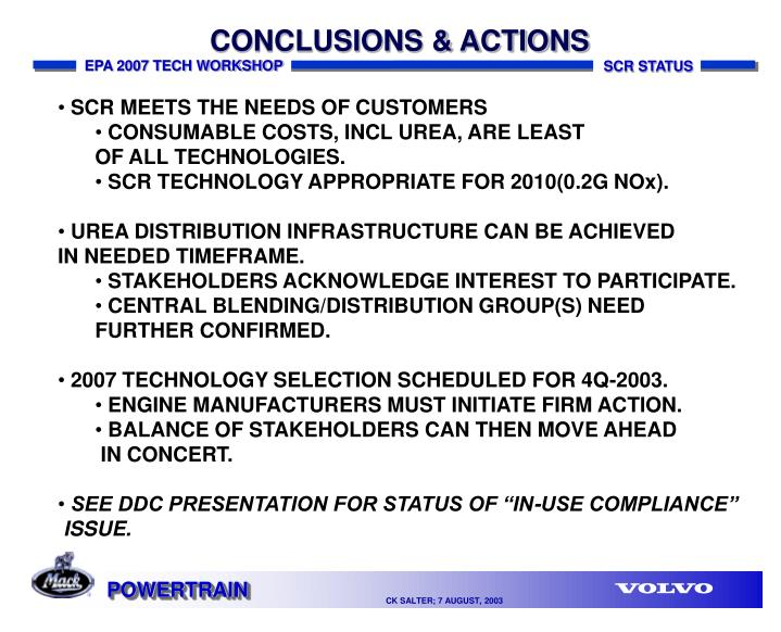 CONCLUSIONS & ACTIONS