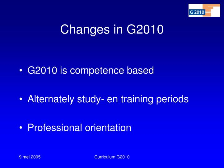 Changes in G2010