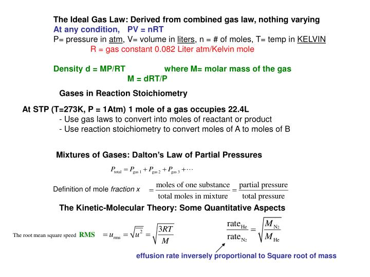 The Ideal Gas Law: Derived from combined gas law, nothing varying
