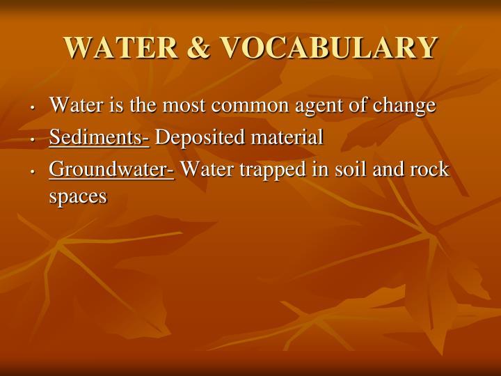 WATER & VOCABULARY