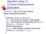 algorithm step 2 common subexpression elimination