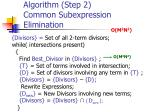 algorithm step 2 common subexpression elimination1