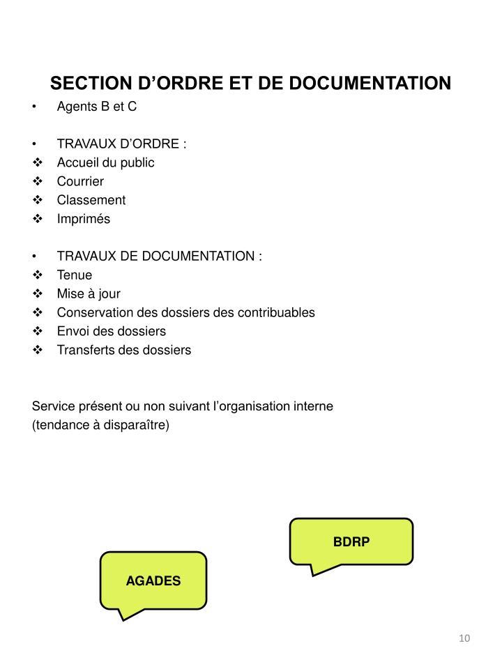 SECTION D'ORDRE ET DE DOCUMENTATION