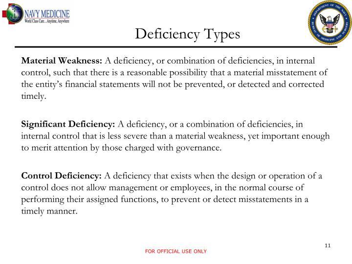 Deficiency Types