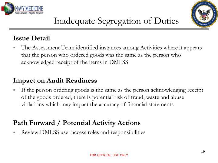 Inadequate Segregation of Duties