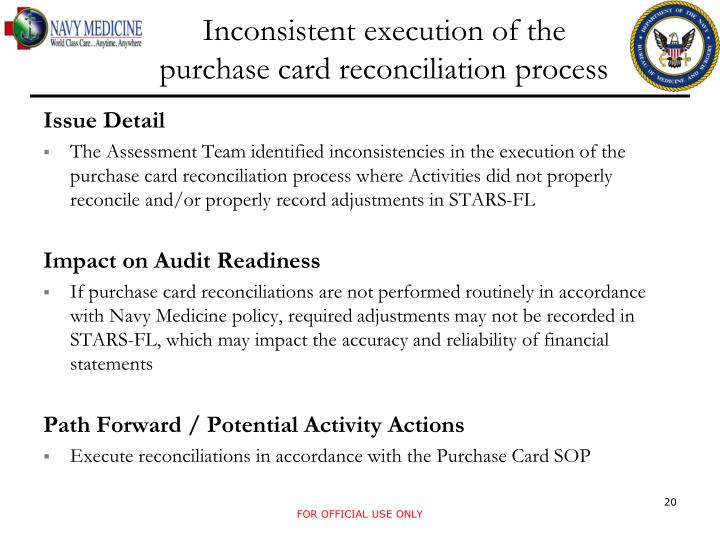 Inconsistent execution of the purchase card reconciliation process