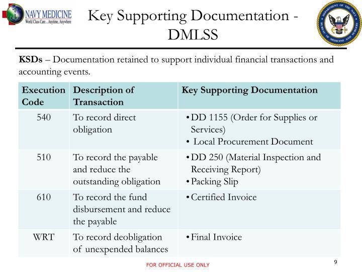 Key Supporting Documentation - DMLSS