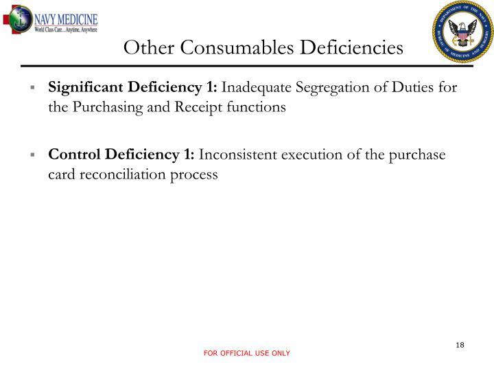 Other Consumables Deficiencies