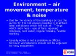 environment air movement temperature noise