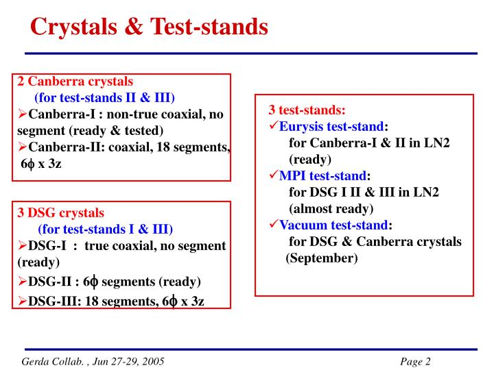 Crystals & Test-stands