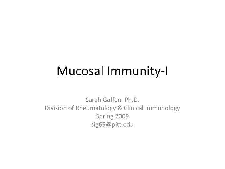 mucosal immunity i n.