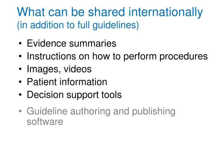 What can be shared internationally