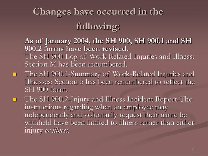 Changes have occurred in the following: