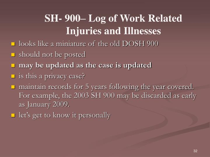 SH- 900– Log of Work Related Injuries and Illnesses