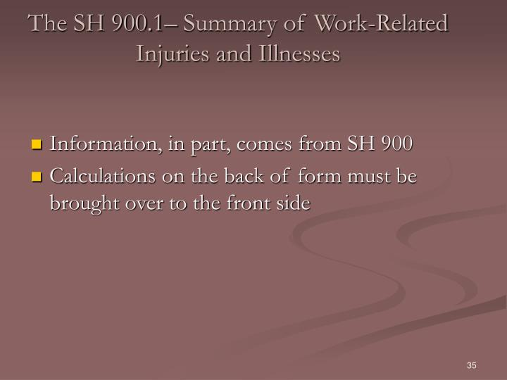 The SH 900.1– Summary of Work-Related Injuries and Illnesses