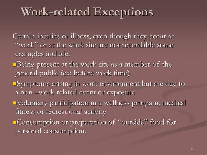 Work-related Exceptions