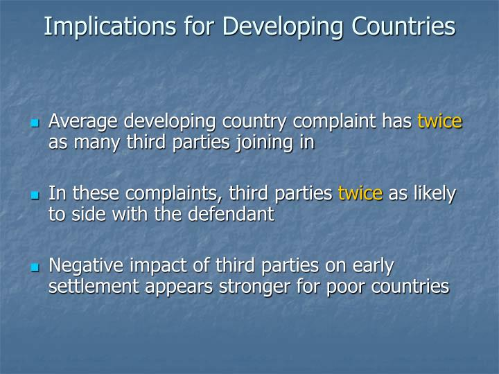Implications for Developing Countries