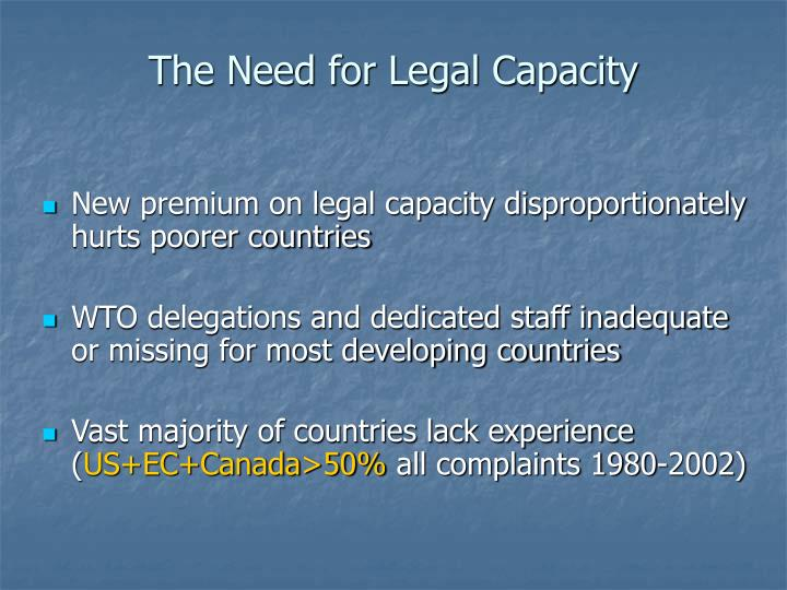 The Need for Legal Capacity