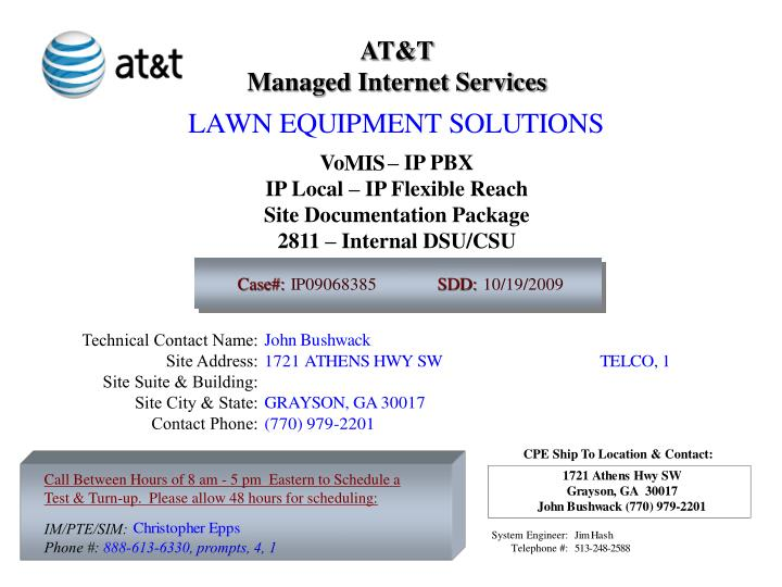 PPT - AT&T Managed Internet Services Vo – IP PBX IP Local