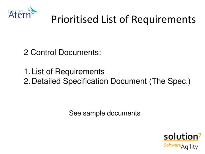 Prioritised List of Requirements
