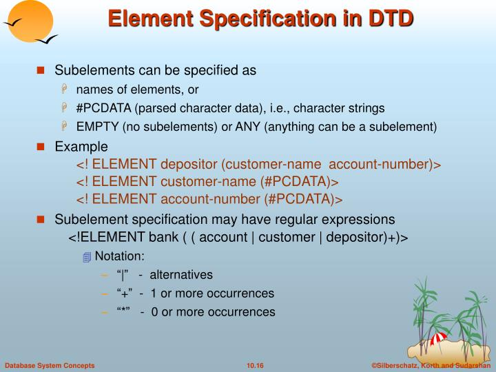 Element Specification in DTD
