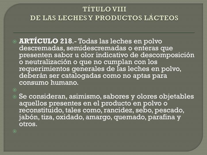 TÍTULO VIII