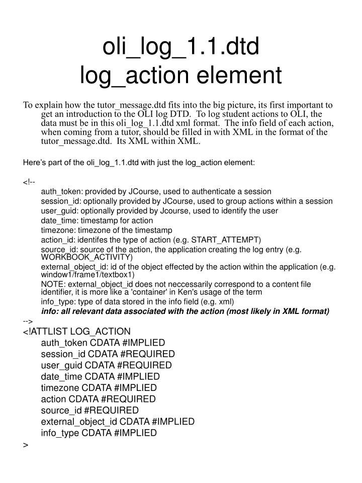 Oli log 1 1 dtd log action element