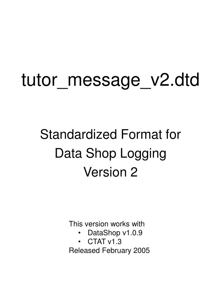 Tutor message v2 dtd