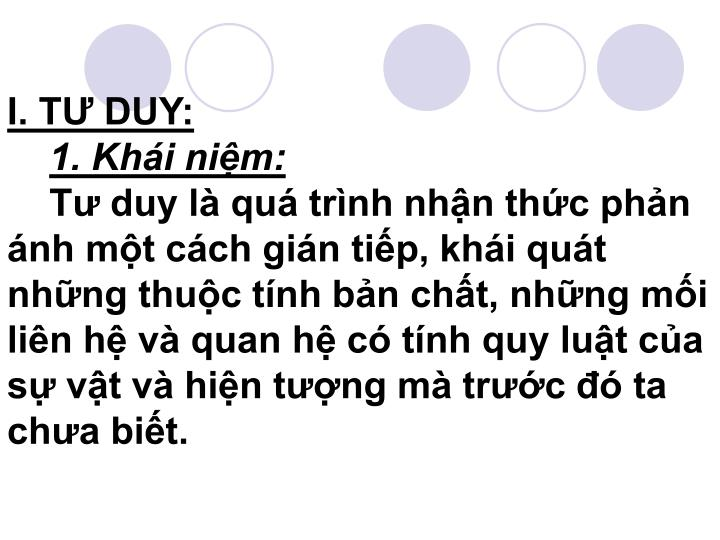 I. TƯ DUY: