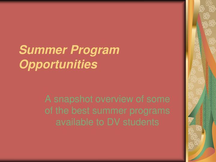 summer program opportunities n.