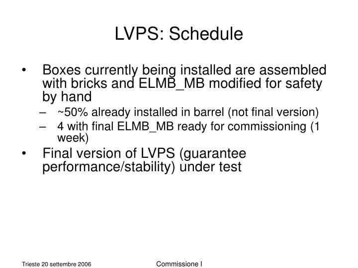 LVPS: Schedule