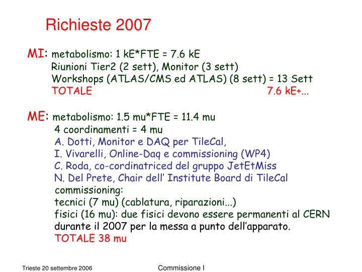 Richieste 2007