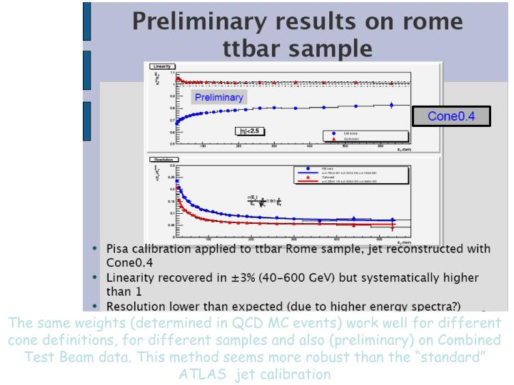 """The same weights (determined in QCD MC events) work well for different cone definitions, for different samples and also (preliminary) on Combined Test Beam data. This method seems more robust than the """"standard"""" ATLAS  jet calibration"""
