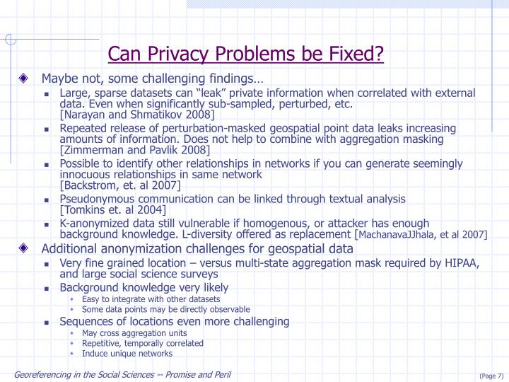 Can Privacy Problems be Fixed?