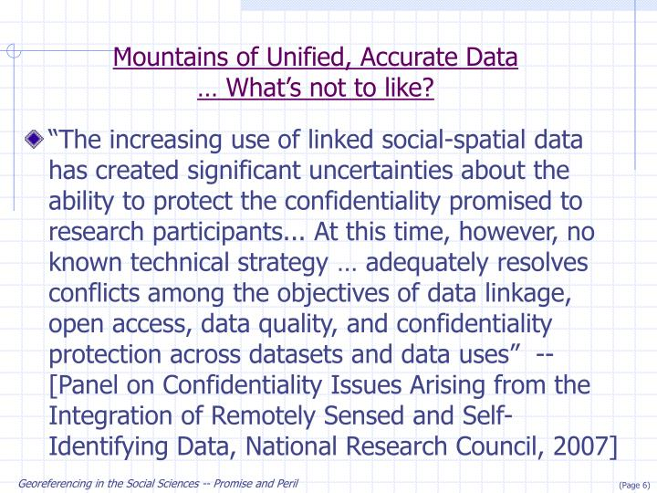 Mountains of Unified, Accurate Data